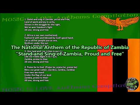 Zambia National Anthem with music, vocal CHORALE A CAPPELLA, and lyrics English