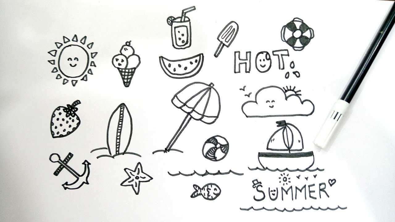 Bekend Summer Inspired Doodles For Your Bullet Journal // doodle with me #XB17