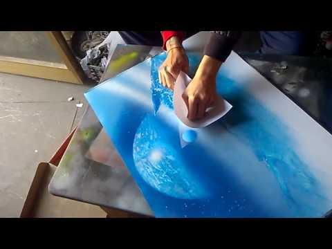 Spray paint master technique stormy sea