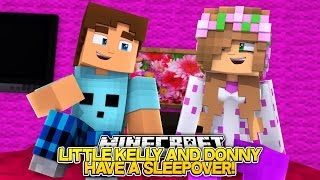 LITTLE KELLY AND LITTLE DONNY HAVE A SLEEPOVER! Minecraft Bed Wars