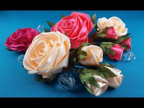 Rose Of Whole Ribbon.Tutorial/ Rose De Una Cinta Entera.CM/ Роза из цельной ленты.MK