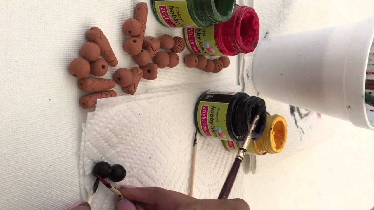 How to Paint Terracotta beads - YouTube