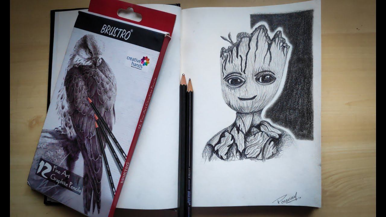 Sketching Groot |The guardians of galaxy |Timelapse|#SketchWithme