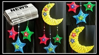 Newspaper Wall Hanging/Dream  catcher-Moon and Stars