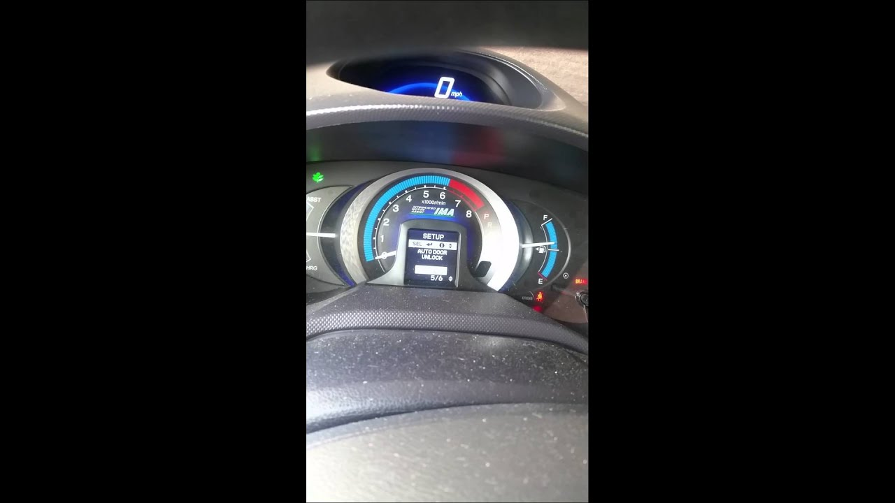 Honda Insight Changing The Settings Youtube