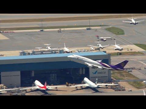 Hong Kong Airport Aircraft movements with ATC + Thai 747