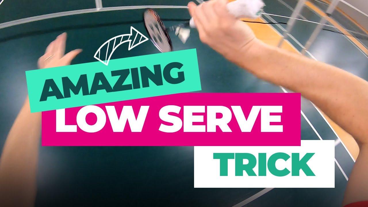 Badminton low serve trick shot - Peter Gade style