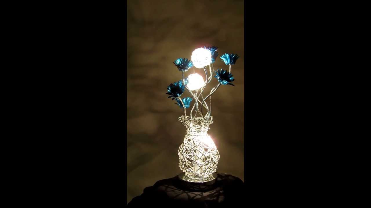 Woven wire table lamp silver with blue delicate flowers turned woven wire table lamp silver with blue delicate flowers turned on wirelampsdirect greentooth Images