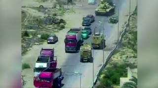 فيديو.. دبابة مصرية تدهس سيارة إرهابيين