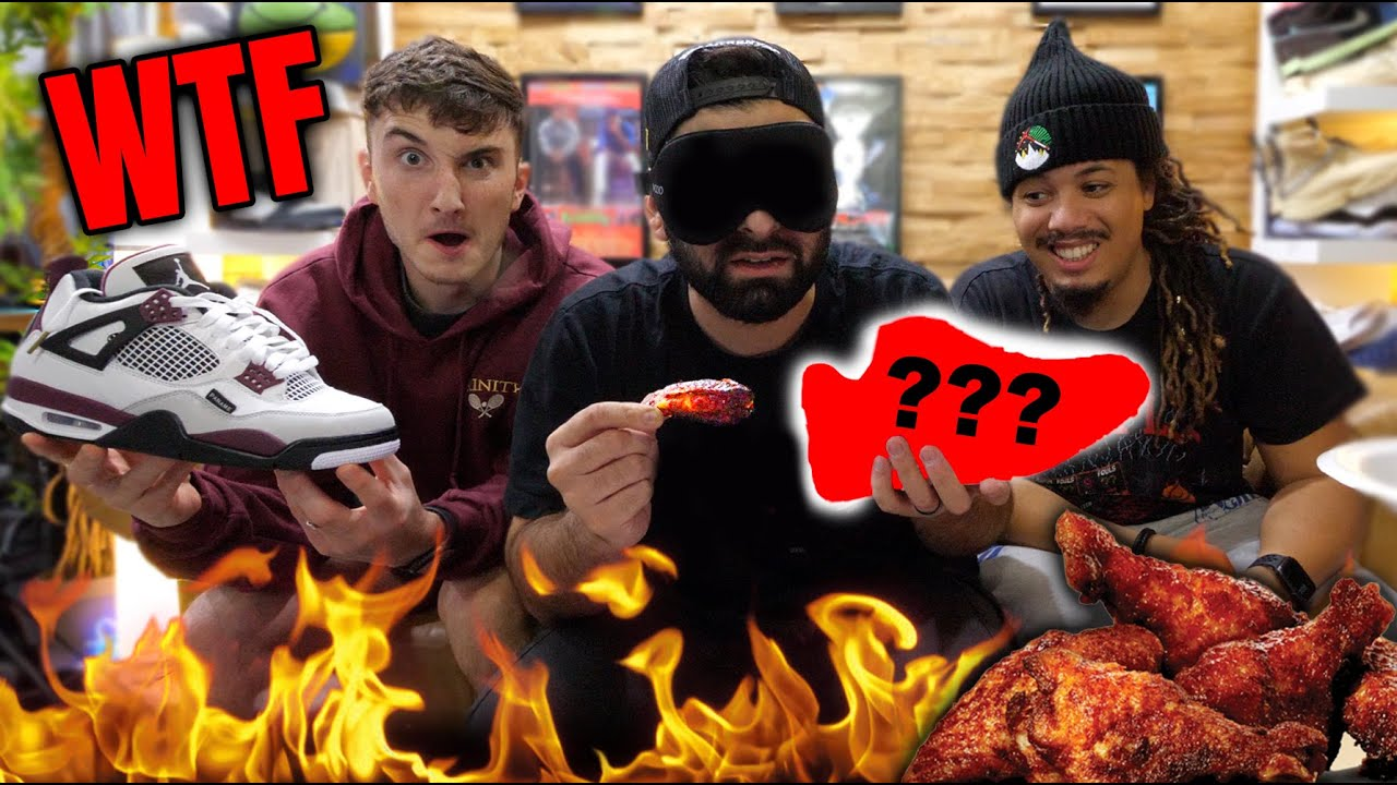 GUESS THE SNEAKER OR EAT THE HOT WINGS!! *SPICY WING CHALLENGE WITH HARRISON NEVEL AND TONYD2WILD*