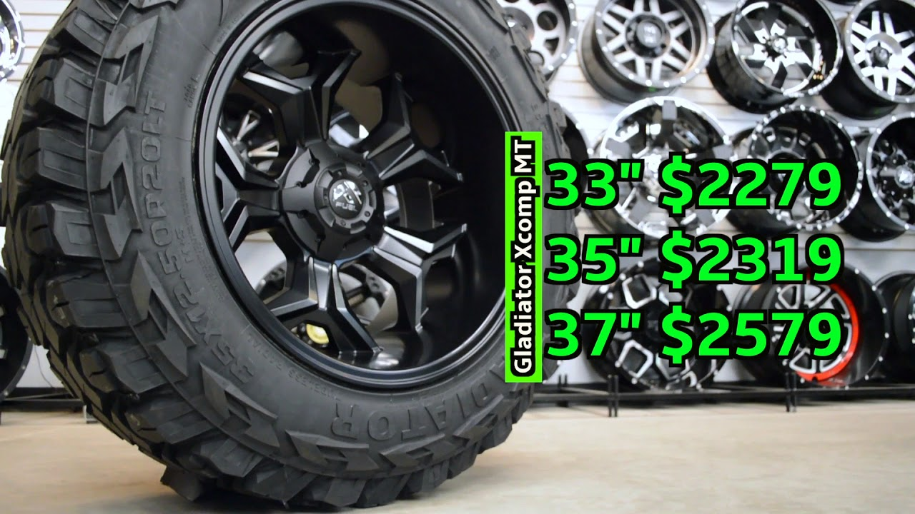 15 Inch Tires >> 20x12 Fuel Offroad Avenger with Gladiator Xcomp MT - YouTube