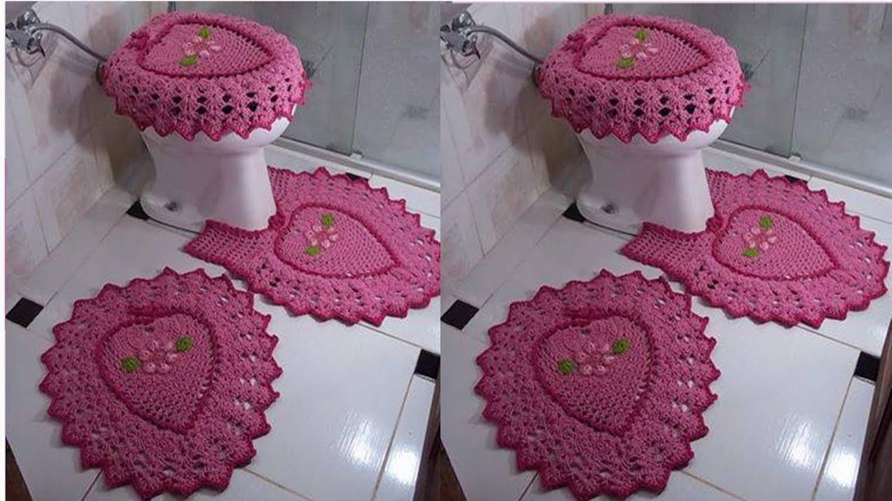 Juego De Baño Navideno A Crochet:Nº02 JUEGO DE BAÑOS TEJIDOS A CROCHET EN VARIADOS MODELOS – YouTube