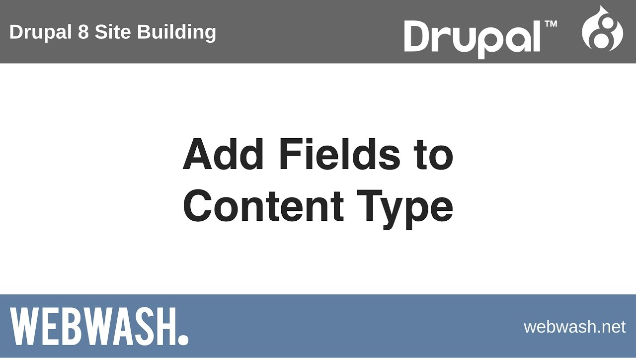 Drupal 8 Site Building, 2 3: Add Fields to Content Type