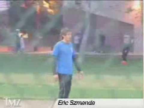Jorja Fox and Eric Szmanda play kickball