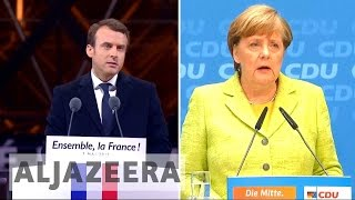 EU future tops agenda as Germany's Merkel hosts France's Macron EU future tops agenda as Germany's Merkel hosts France's Macron Emmanuel Macron is set to visit Berlin on his first day as France's president to hold talks with ...