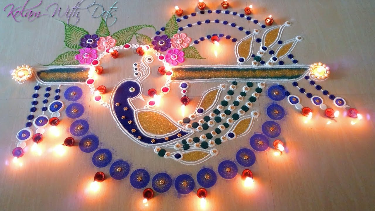 Beautiful Peacock Rangoli Designs With Colours