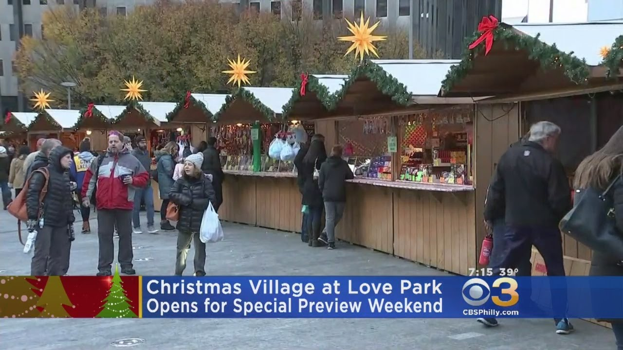 Christmas Village Love Park.Christmas Village Opens For Special Preview At Love Park
