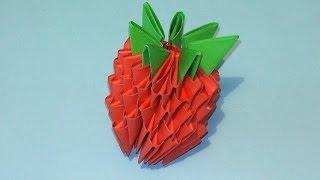 Как сделать клубничку (землянику) модульное оригами видео урок-схема