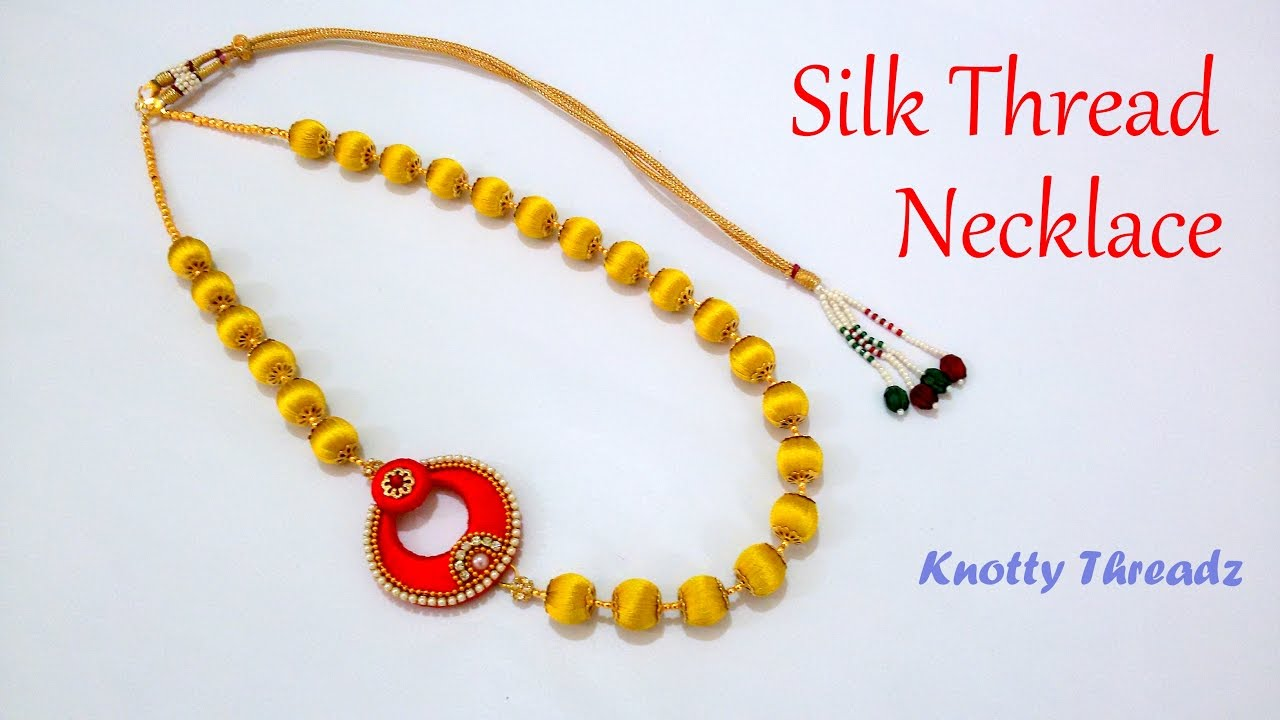 intriguing silk wear red wedding thread designer from kn set necklace hj