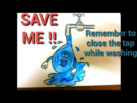 SAVE WATER DRAWING POSTER || WORLD WATER DAY SPECIAL ||EASY STEP BY STEP.
