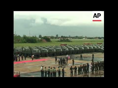 China gives 257 military trucks to Cambodia
