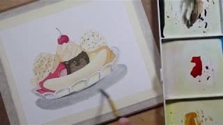 สีน้ำกากๆ : การลงสีไอศกรีม Banana Split (Speed paint)