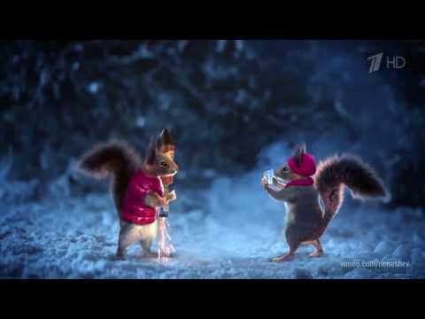 Новогодние заставки с белками - Прикольное видео онлайн