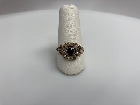 Antique Edwardian Seed Pearl & Garnet Ring