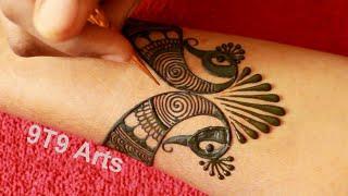 Step by Step Bridal Henna Mehndi design   Easy Mehndi Designs   New Peacock Mehandi Design for Hands