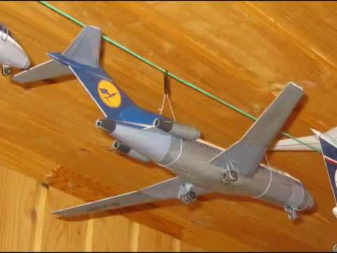 Papercraft Boeing 727 Lufthansa paper model