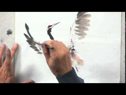 Painting a Japanese Crane with Lian Quan Zhen