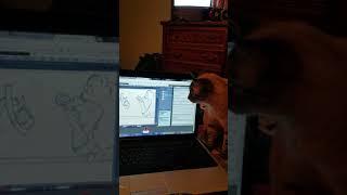 Pud watching Foxenawolf draw.