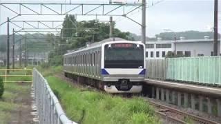 東北本線 白坂駅 E531系K554編成試運転 上り到着発車 2017.08.16
