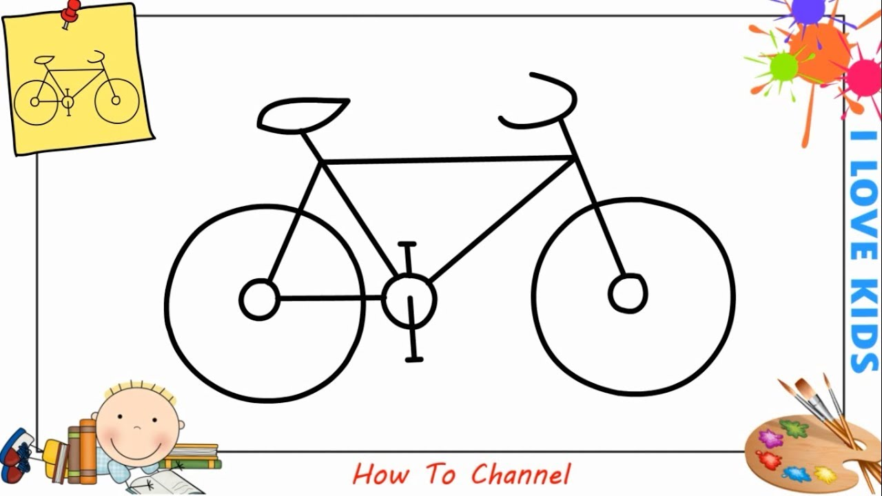 Dibujos De Bicicletas Para Colorear: How To Draw A Bike (bicycle) EASY Step By Step For Kids