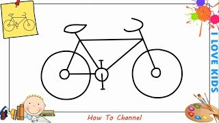 How to draw a bike (bicycle) EASY step by step for kids, beginners 3
