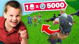1 Elimination = 5000 V-Bucks With 6yr Old Fortnite Player!