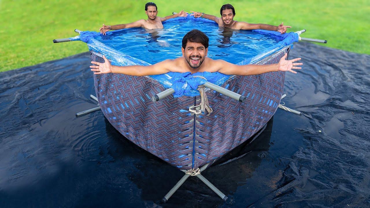 Swimming Pool Using Desi Jugad - चारपाई से बना दिया स्विमिंग पूल |