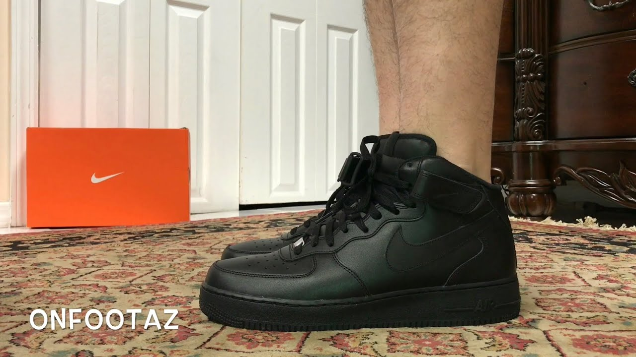 low priced bded1 feafb Nike Air Force 1 Mid Black On Foot