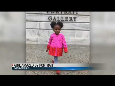 Little girl awestruck by Michelle Obama's portrait believes she's 'a queen'
