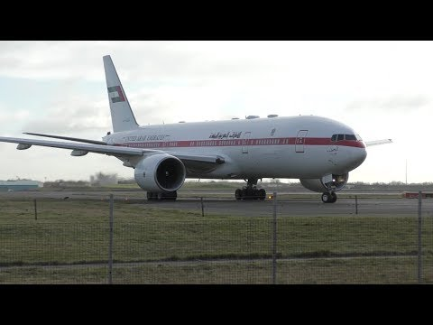 Boeing 777 on narrow taxi way + Azerbaijan B767 impressive wet reverse thrust
