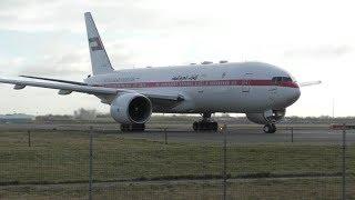 Boeing 777 on narrow taxi way + Azerbaijan B767 impressive wet reverse thrust