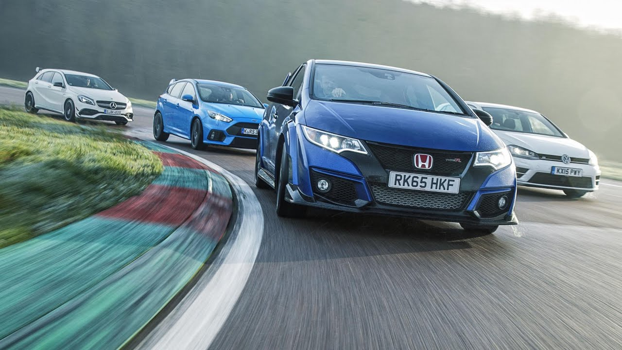 ford focus rs vs mercedes amg a45 vs vw golf r vs honda