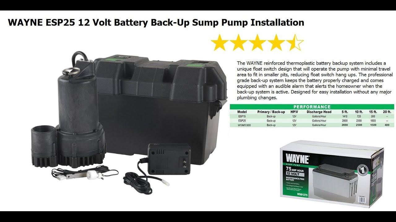 wayne esp25 12 volt battery back up sump pump installation [ 1280 x 720 Pixel ]