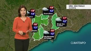Previsão Grande SP – Tempo úmido e frio
