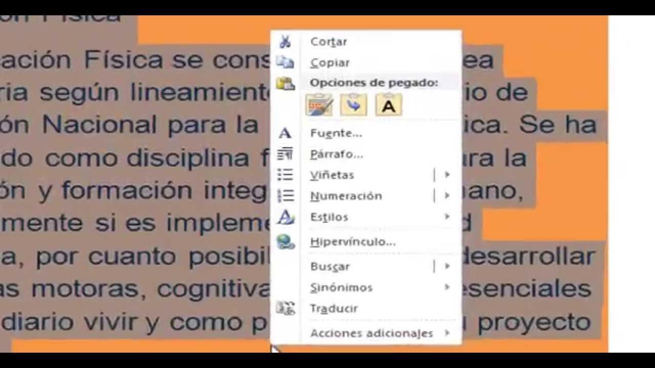 Como quitar el color de fondo de un texto en Word - HD - YouTube