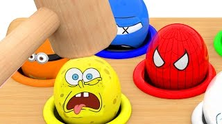 Character Whac A Mole Game Surprise Eggs Learn Colors For Kids Children Spongebob Cookie Monster