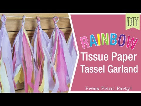 Rainbow Paper Tissue Garland DIY