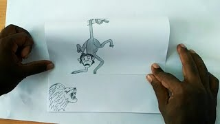 Trick art for kids | how to draw scared monkey and angry lion for kids | drawing for kids