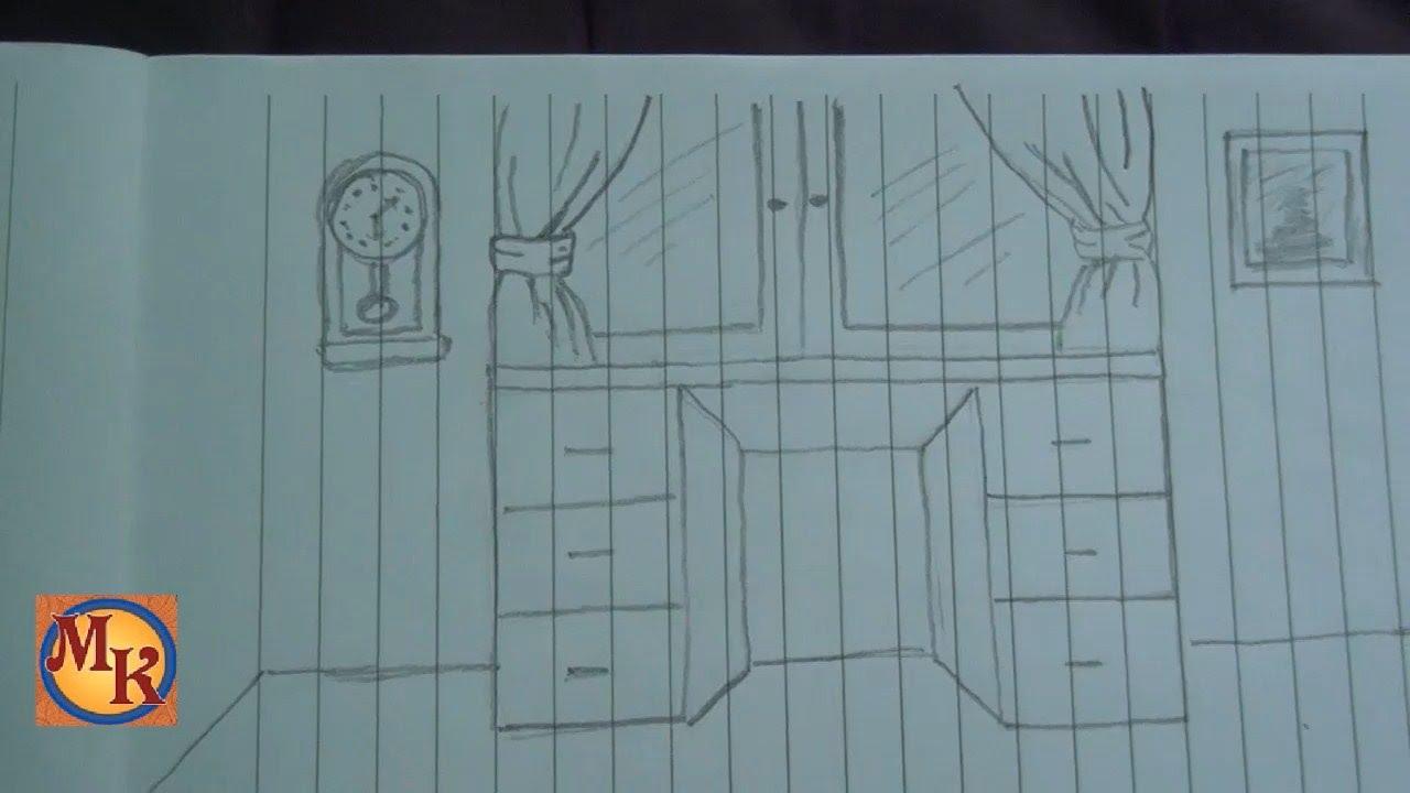 cara menggambar meja belajar speed drawing