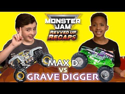Monster Jam Revved Up Recaps / Episode 4 / Rival Race Grave Digger vs Max D |